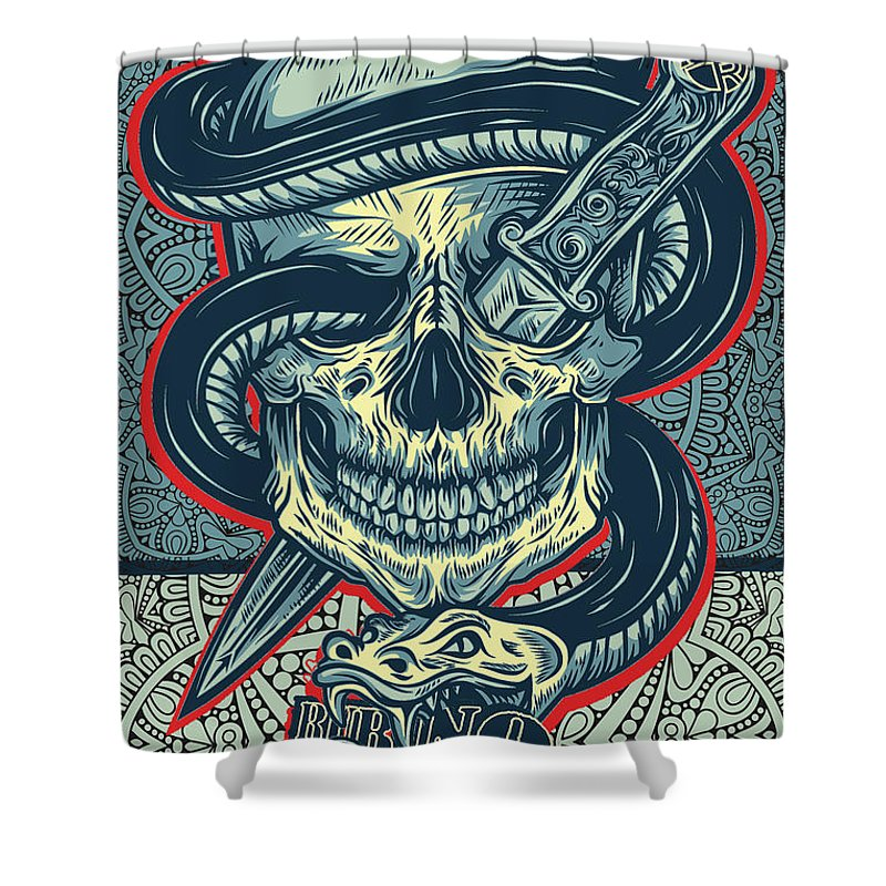 Rubino Logo Tattoo Skull - Shower Curtain