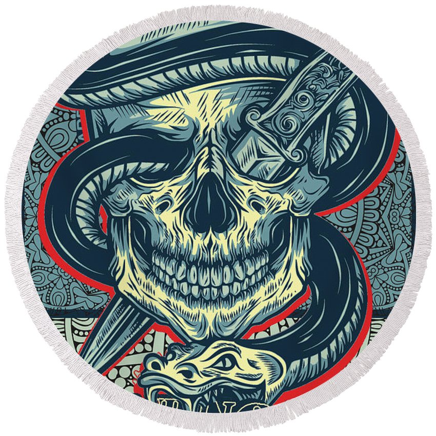 Rubino Logo Tattoo Skull - Round Beach Towel