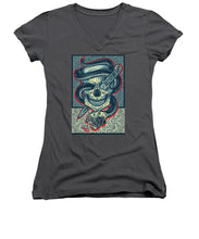Rubino Logo Tattoo Skull - Women's V-Neck (Athletic Fit)