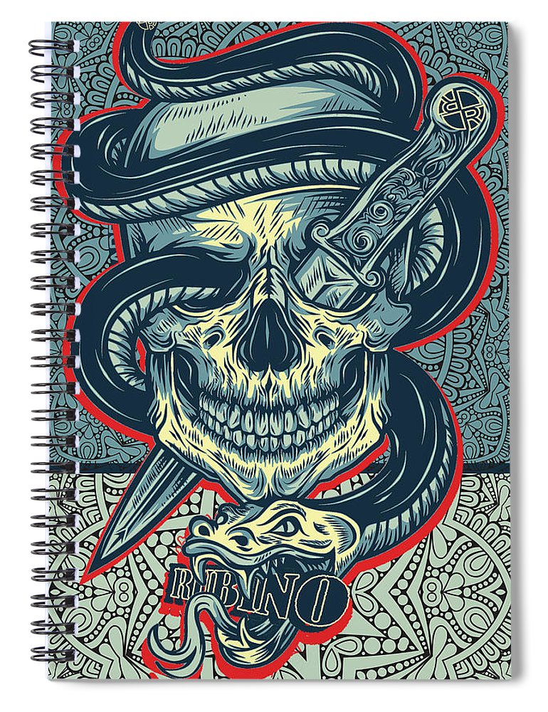 Rubino Logo Tattoo Skull - Spiral Notebook