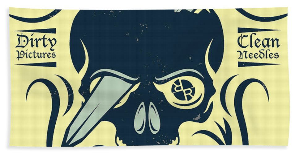 Rubino Motorcycle And Tattoo Skull - Beach Towel