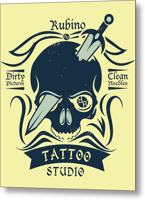 Rubino Motorcycle And Tattoo Skull - Metal Print