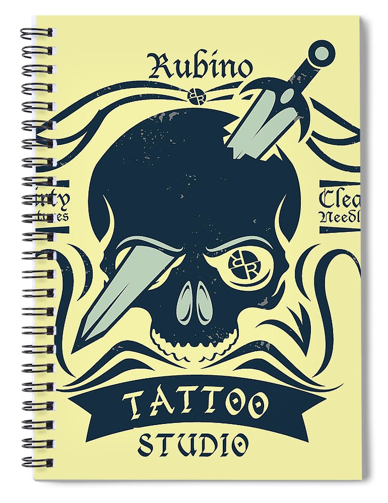 Rubino Motorcycle And Tattoo Skull - Spiral Notebook