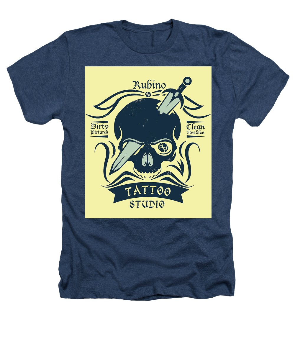 Rubino Motorcycle And Tattoo Skull - Heathers T-Shirt