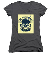 Rubino Motorcycle And Tattoo Skull - Women's V-Neck (Athletic Fit)