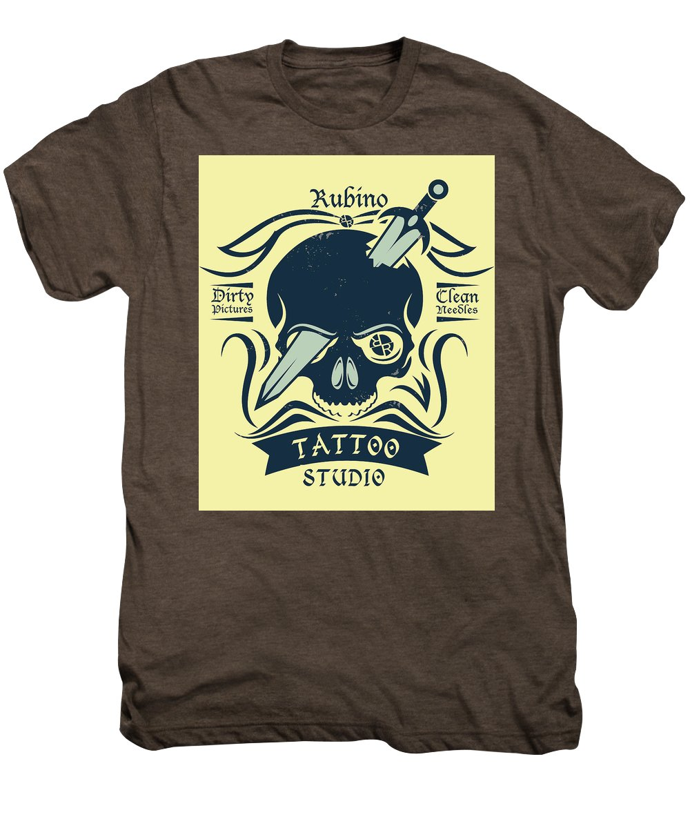 Rubino Motorcycle And Tattoo Skull - Men's Premium T-Shirt