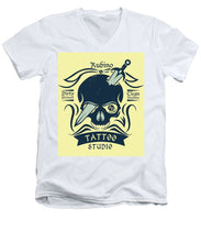 Rubino Motorcycle And Tattoo Skull - Men's V-Neck T-Shirt