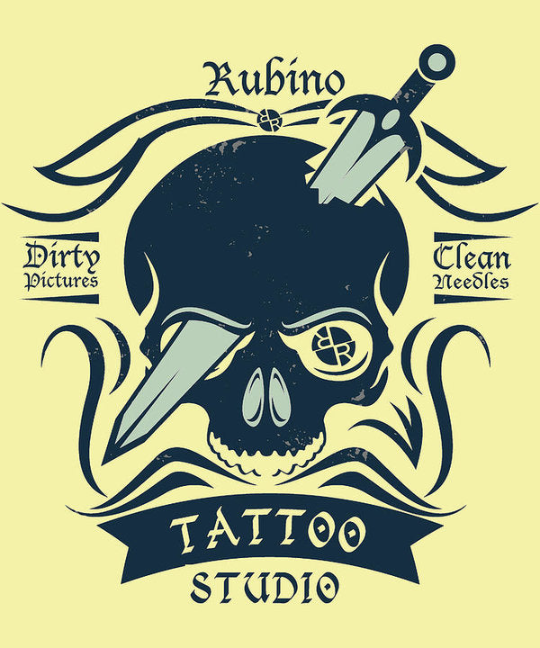 Rubino Motorcycle And Tattoo Skull - Art Print