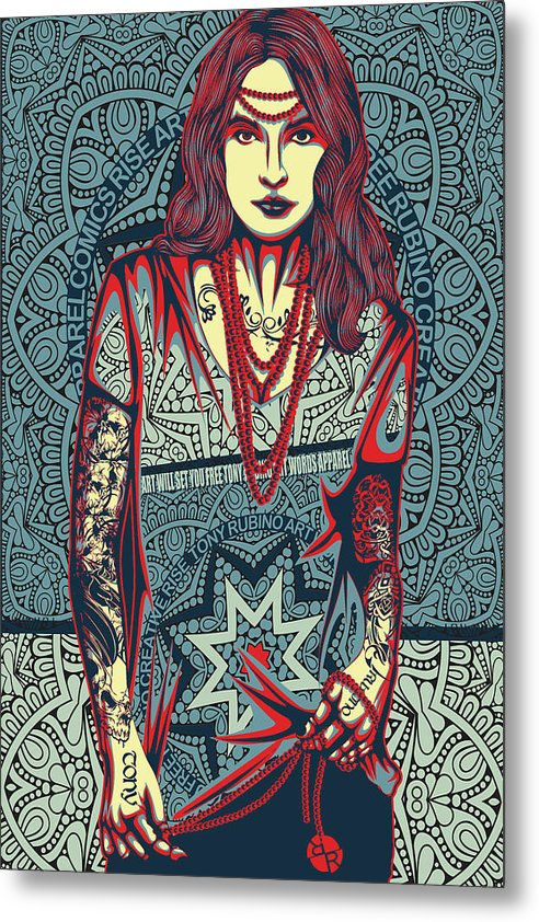 Rubino Red Lady - Metal Print