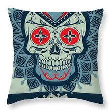 Rubino Rise Skull Reb Blue - Throw Pillow