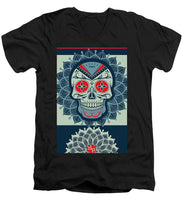 Rubino Rise Skull Reb Blue - Men's V-Neck T-Shirt