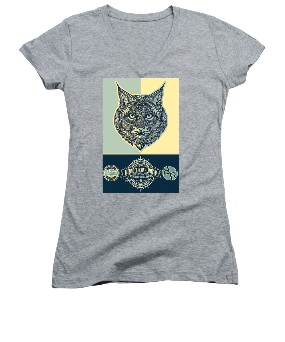 Rubino Spirit Cat - Women's V-Neck (Athletic Fit)