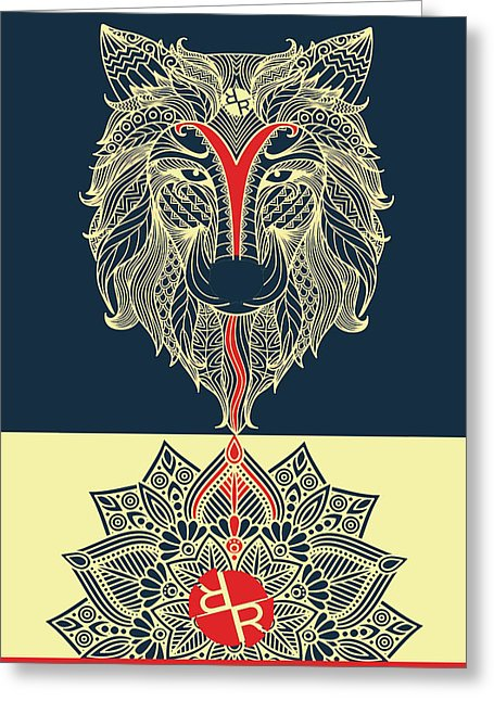 Rubino Spirit Wolf - Greeting Card