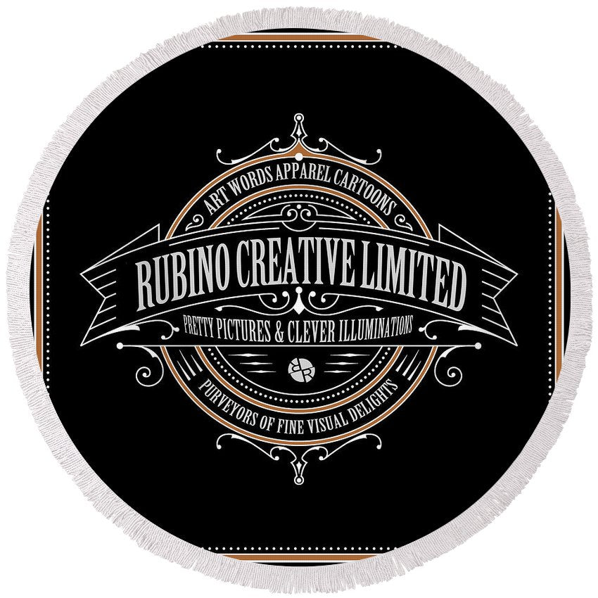 Rubino Vintage Sign - Round Beach Towel
