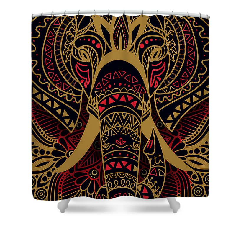Rubino Zen Elephant Red - Shower Curtain