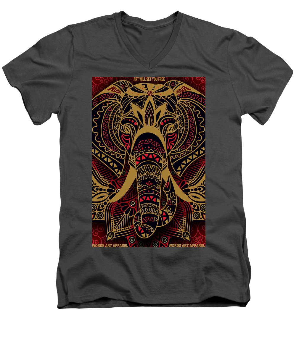 Rubino Zen Elephant Red - Men's V-Neck T-Shirt