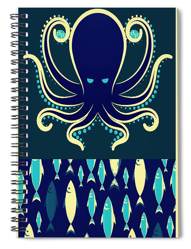 Rubino Zen Octopus Blue - Spiral Notebook