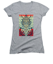 Rubino Zen Owl Blue - Women's V-Neck (Athletic Fit)