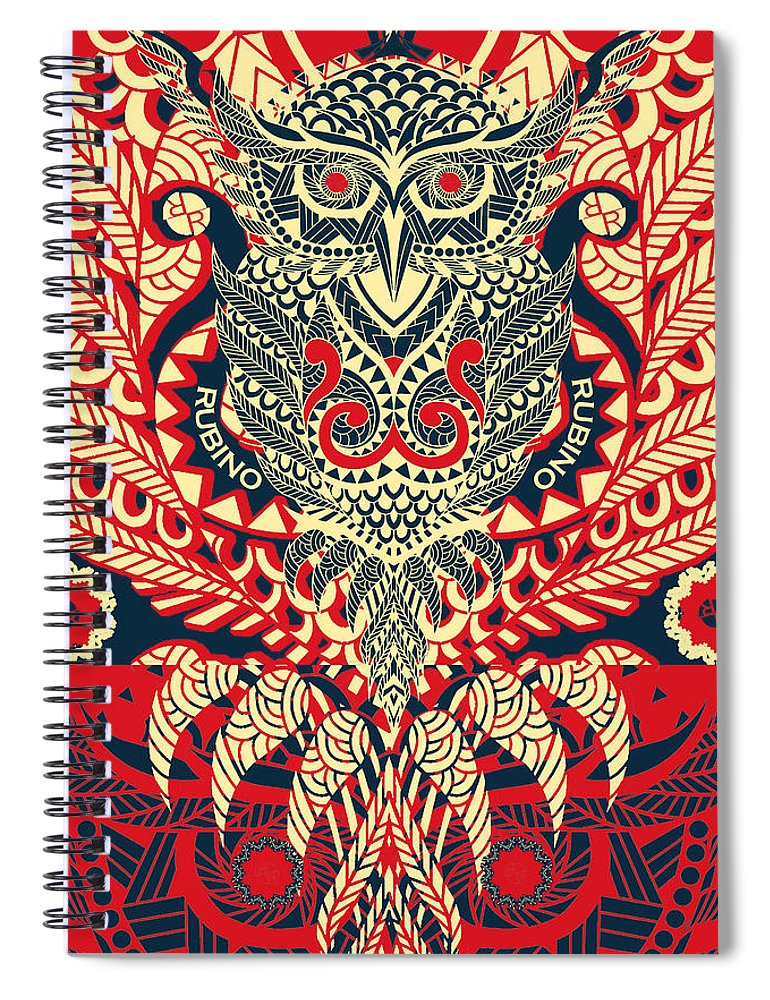 Rubino Zen Owl Red - Spiral Notebook