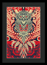 Rubino Zen Owl Red - Framed Print