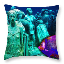 Sculpture Underwater With Bright Fish Painting Musa - Throw Pillow