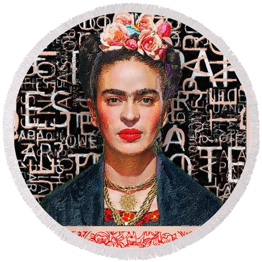 She The People Frida - Round Beach Towel