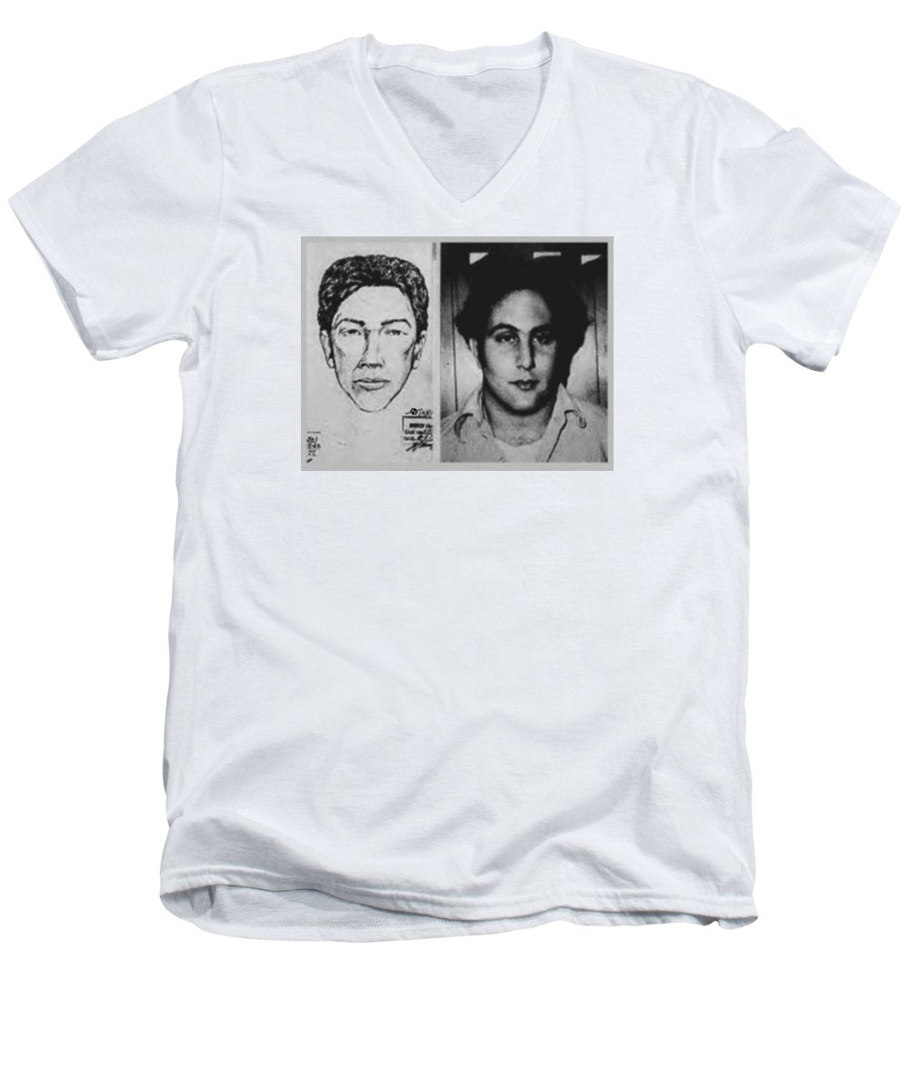 Son Of Sam David Berkowitz Mug Shot And Police Sketch - Men's V-Neck T-Shirt