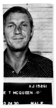Steve Mcqueen Mug Shot Vertical - Beach Towel