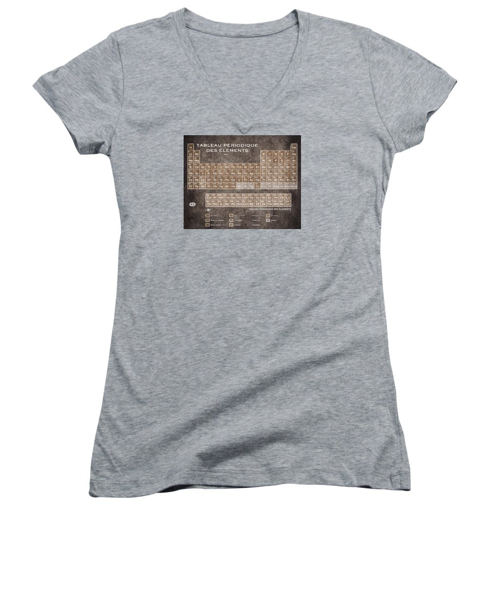 Tableau Periodiques Periodic Table Of The Elements Vintage Chart Sepia - Women's V-Neck (Athletic Fit)