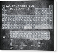 Tableau Periodiques Periodic Table Of The Elements Vintage Chart Silver - Canvas Print