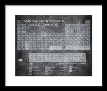 Tableau Periodiques Periodic Table Of The Elements Vintage Chart Silver - Framed Print