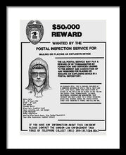 Unabomber Ted Kaczynski Wanted Poster 1 - Framed Print