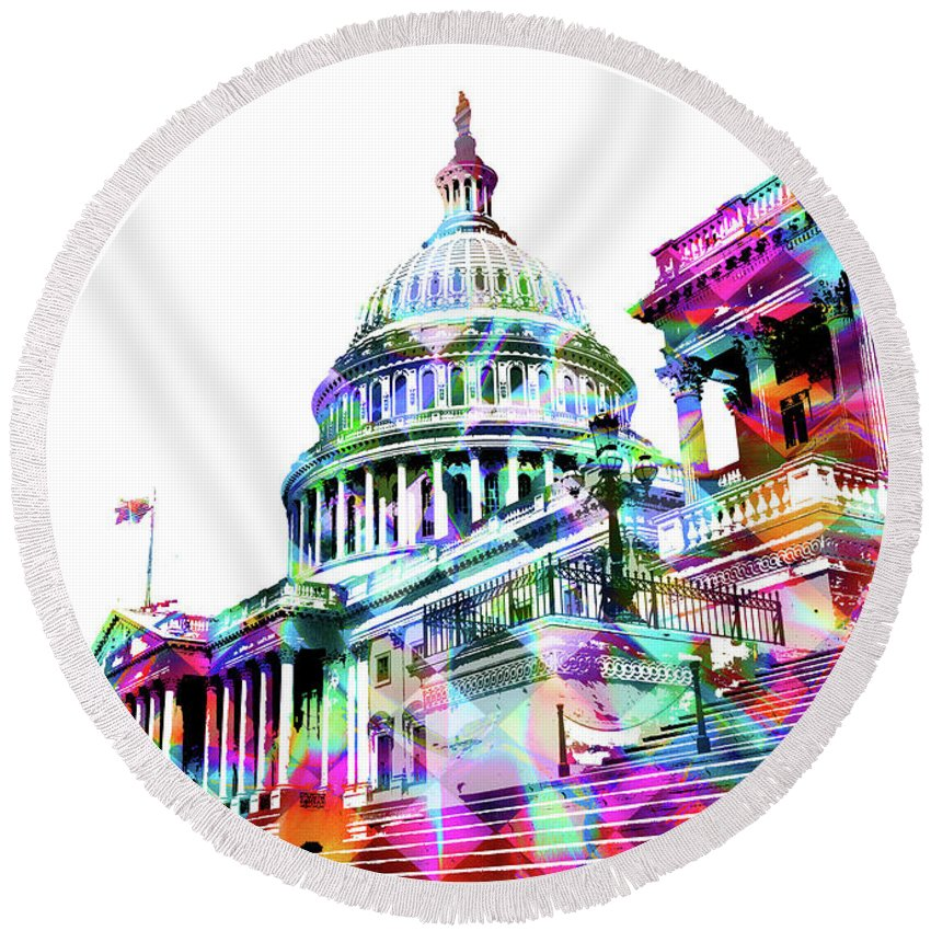 Washington Capitol Color 1 - Round Beach Towel