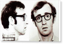 Woody Allen Mug Shot For Film Character Virgil 1969 Sepia - Canvas Print