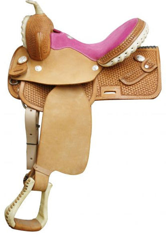 Circle S Square Skirted Barrel Style Saddle - Pink Seat