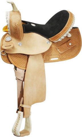 Circle S Round Skirted Barrel Style Saddle - Black Seat