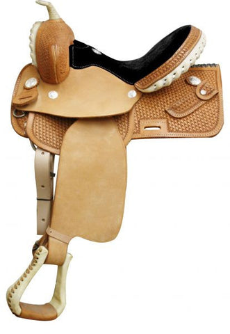 Circle S Square Skirted Barrel Style Saddle - Black Seat