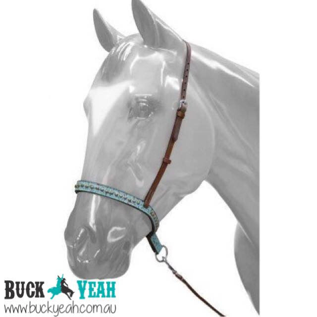 Adjustable Teal Filigree Noseband and Tie Down.