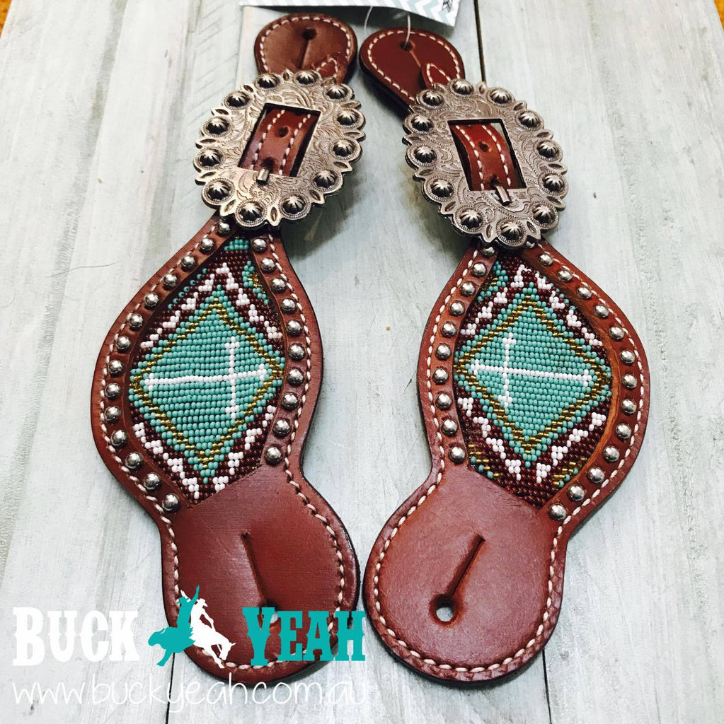 Ladies Teal and brown beaded cross spur straps