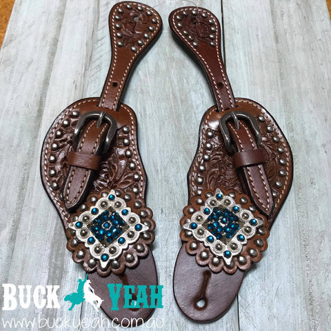 Ladies Leather Spur Straps with Diamond Shaped Teal Blue Rhinestone Conchos
