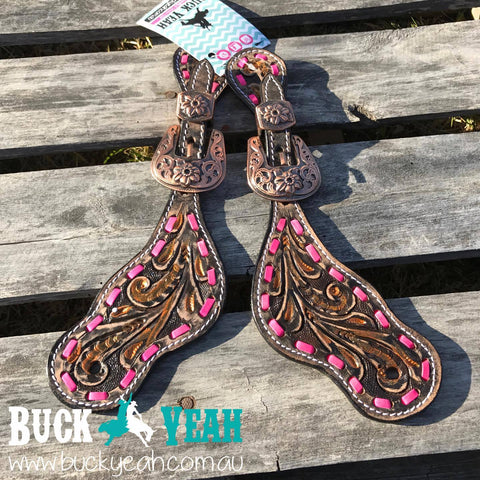 Ladies Pink Buck stitch spur straps