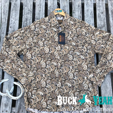 Mens Cotton Paisley Shirt - Coffee