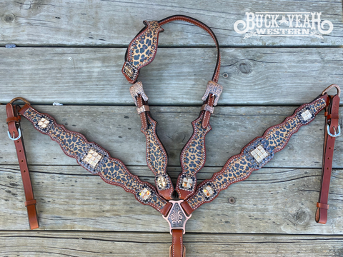 Cheetah print one ear headstall and breast collar set