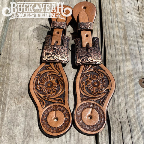 Youth size floral tooled spur straps