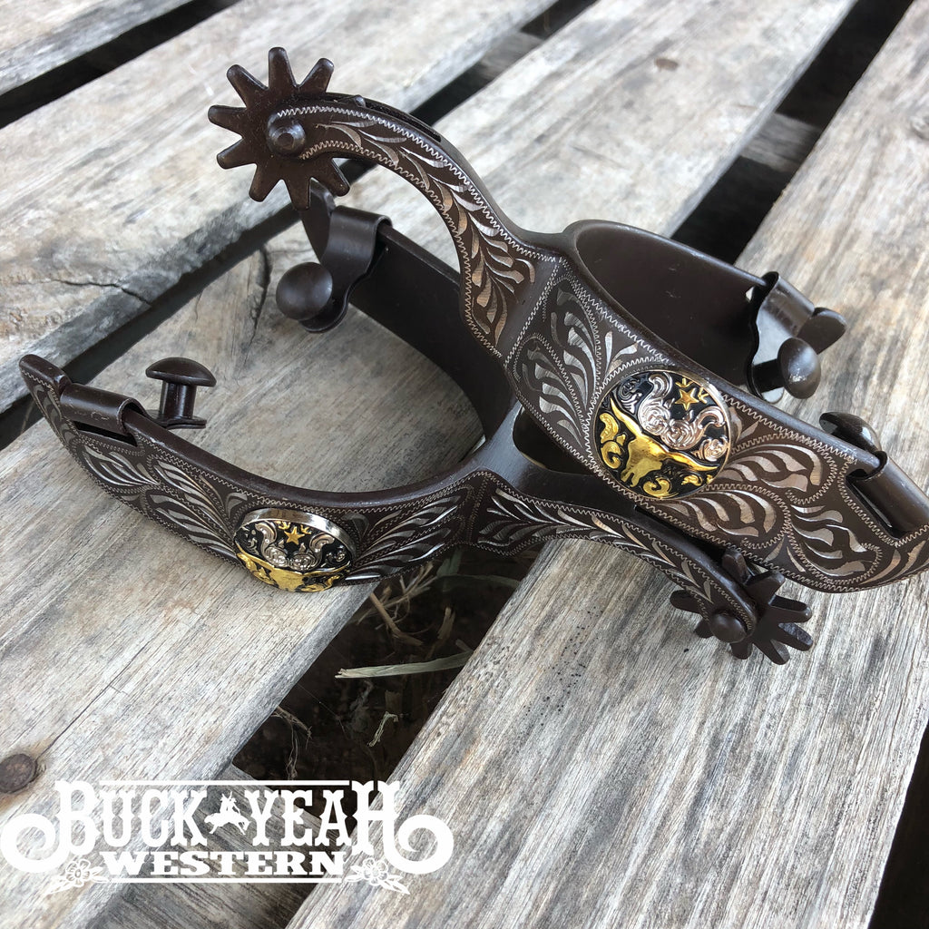 Antiqued brown spur with longhorn concho
