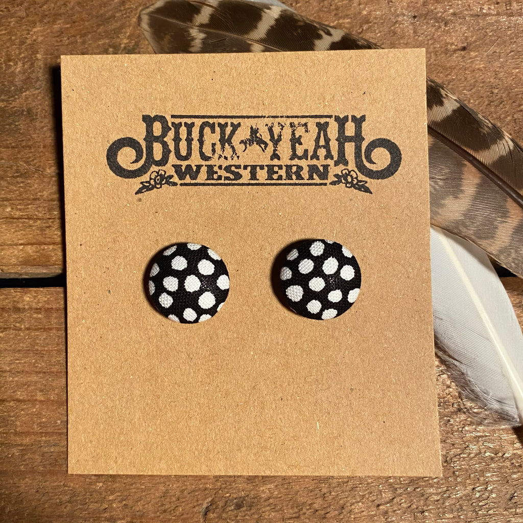 15mm Black White Fabric Earrings
