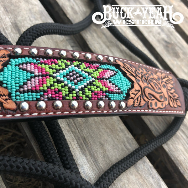 Rafter T Rope Halter w/ Beaded Inlay and Tooling