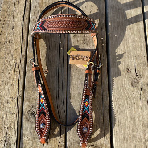 Medium Brown Argentina cow leather brow-band headstall with beaded inlay design