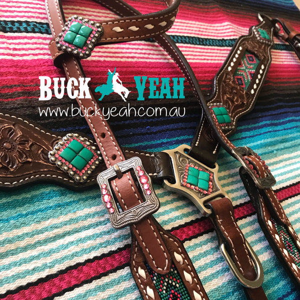 Headstall and breast collar with beaded inlay