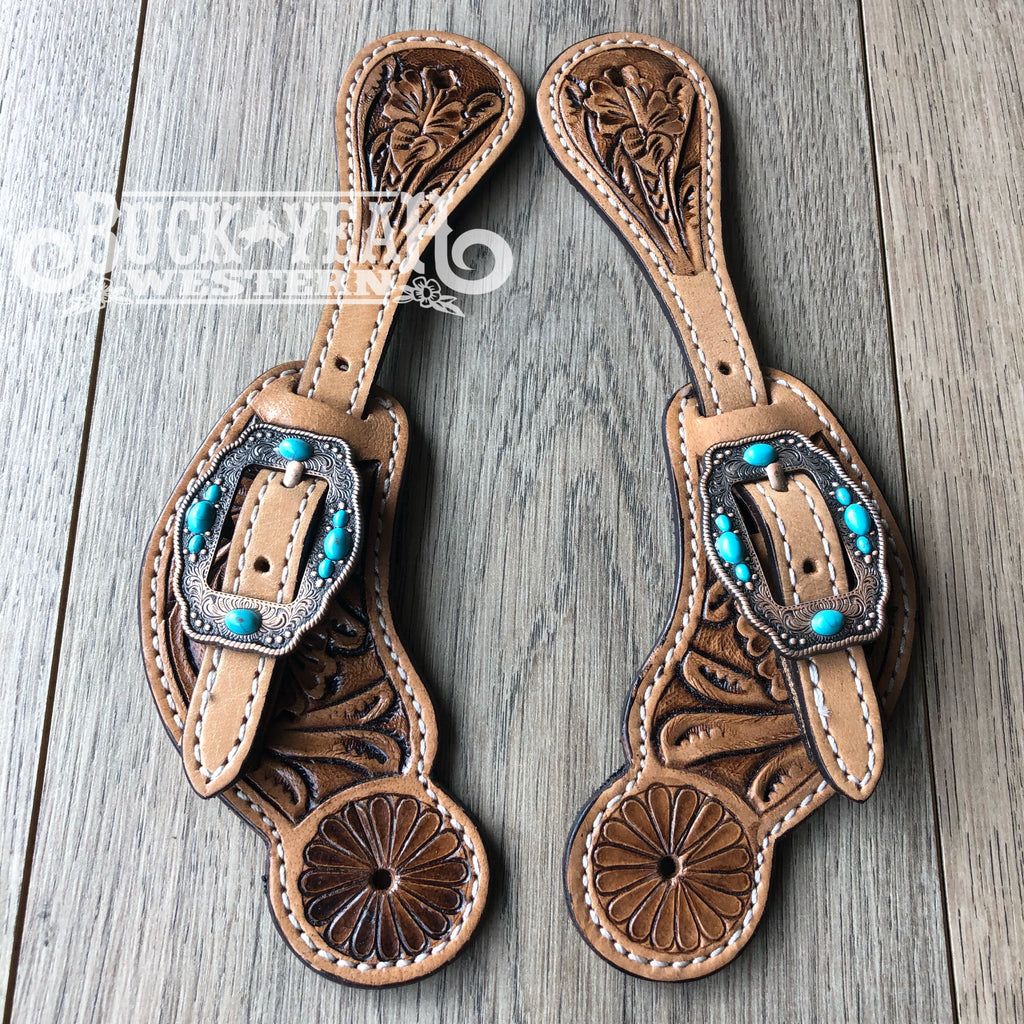 Youth floral tooled spur straps with turquoise